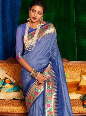 Blue Reception Classic Designer Saree