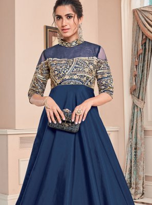 Blue Reception Floor Length Gown