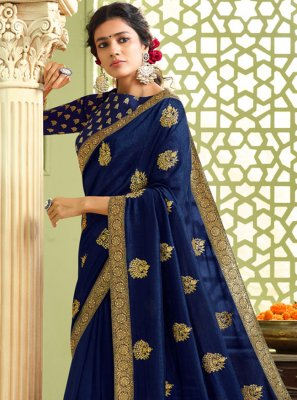 Blue Resham Art Silk Traditional Saree