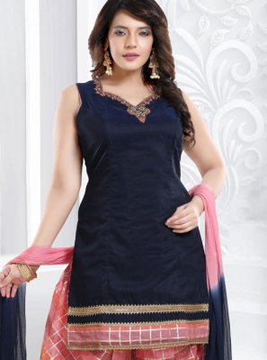 Blue Resham Ceremonial Designer Patiala Suit
