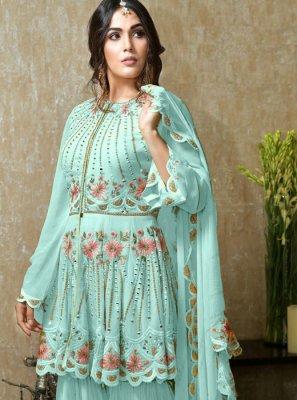 Blue Resham Designer Palazzo Salwar Kameez