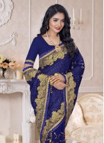 Blue Resham Georgette Trendy Saree
