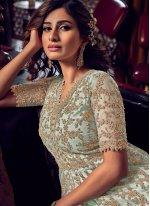 Blue Resham Net Bollywood Salwar Kameez