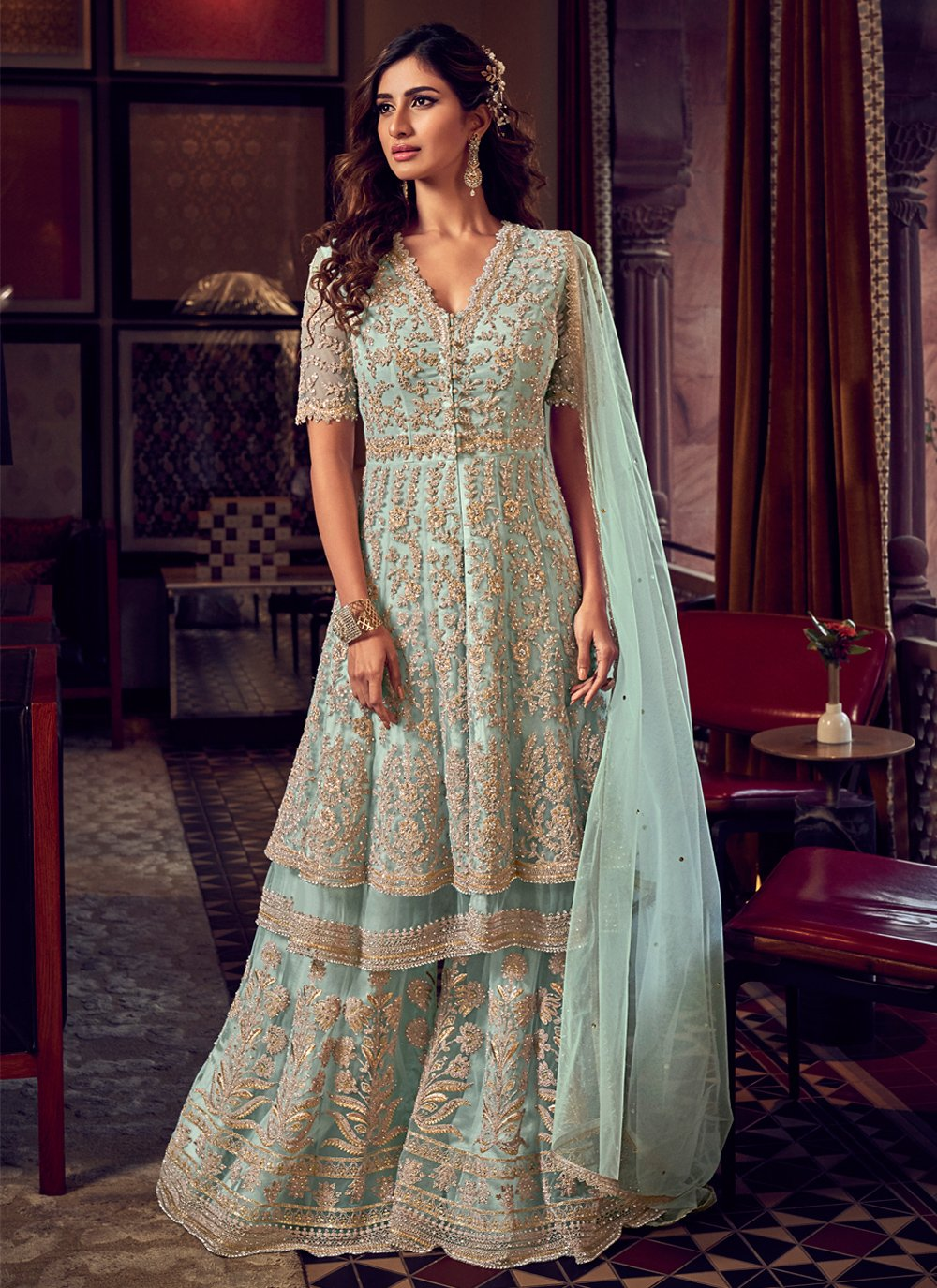 Blue Resham Net Bollywood Salwar Kameez