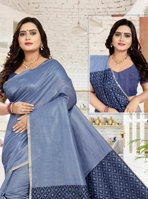 Blue Sangeet Cotton Designer Traditional Saree