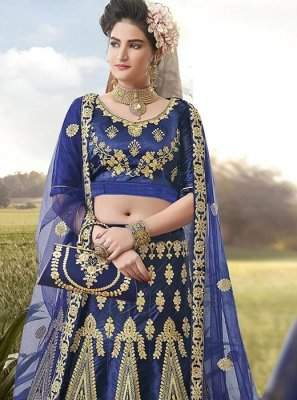 Blue Satin Silk Embroidered A Line Lehenga Choli