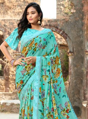 Blue Satin Silk Floral Print Silk Saree