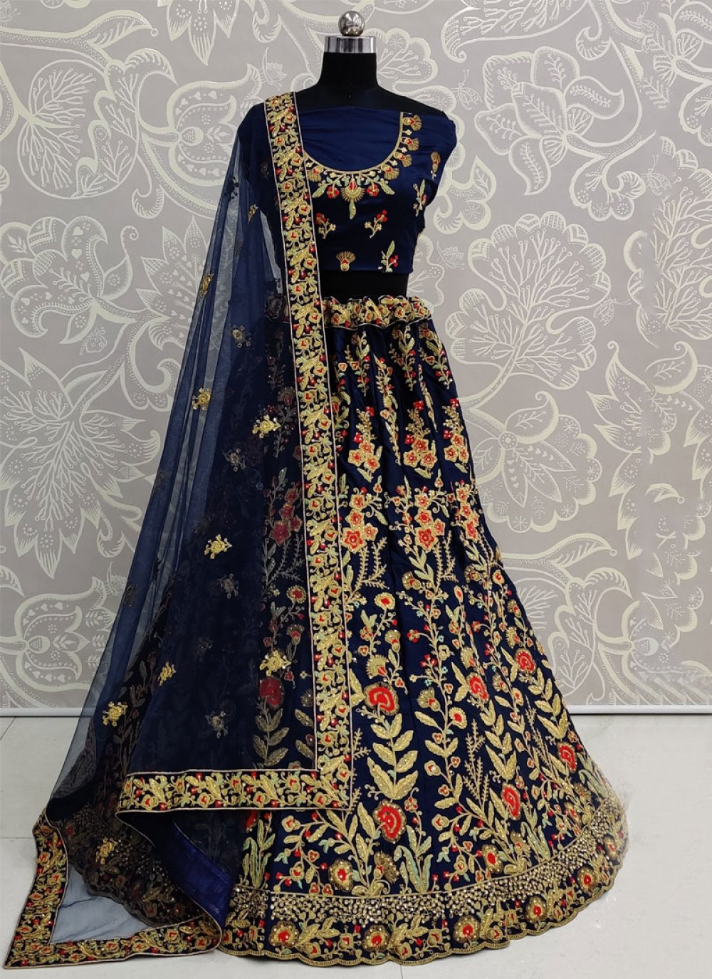 Blue Satin Silk Reception A Line Lehenga Choli