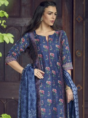 Blue Silk Designer Salwar Suit