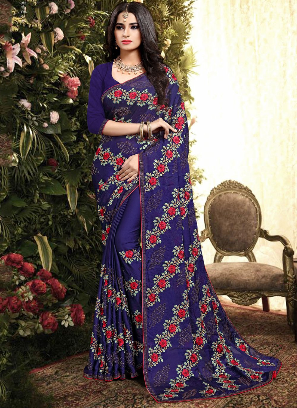 Blue Silk Embroidered Classic Saree