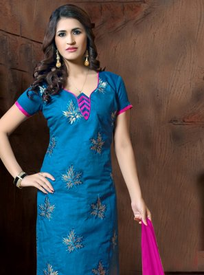 Blue Silk Party Churidar Salwar Suit