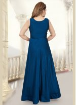 Blue Silk Readymade Anarkali Suit