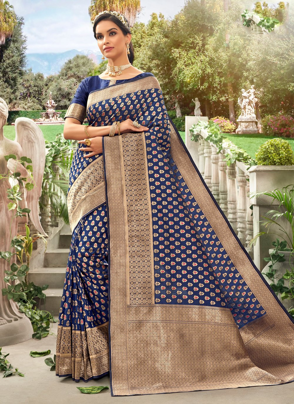 Blue Silk Reception Contemporary Saree