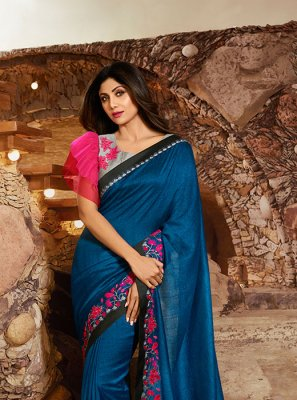 Blue Silk Resham Silk Saree