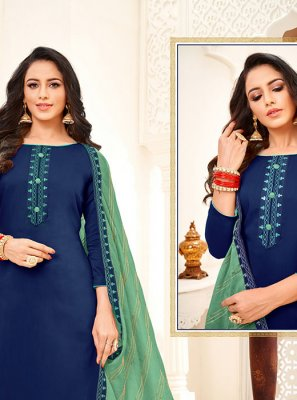 Blue Silk Trendy Churidar Salwar Suit