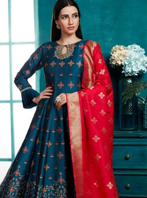 Blue Silk Weaving Designer Salwar Suit