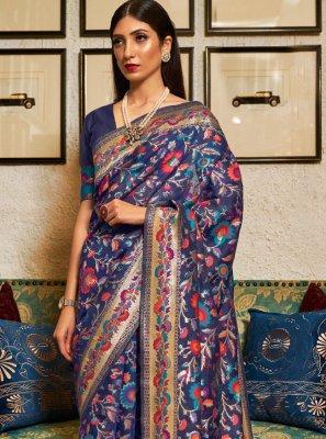 Blue Silk Wedding Contemporary Saree