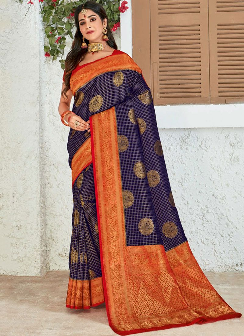 Blue Silk Wedding Designer Saree