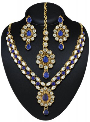 Blue Stone Work Mehndi Necklace Set