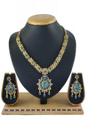 Blue Stone Work Party Necklace Set