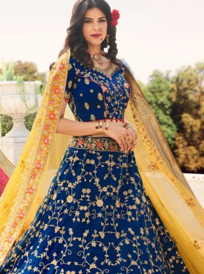 Blue Stone Work Reception A Line Lehenga Choli