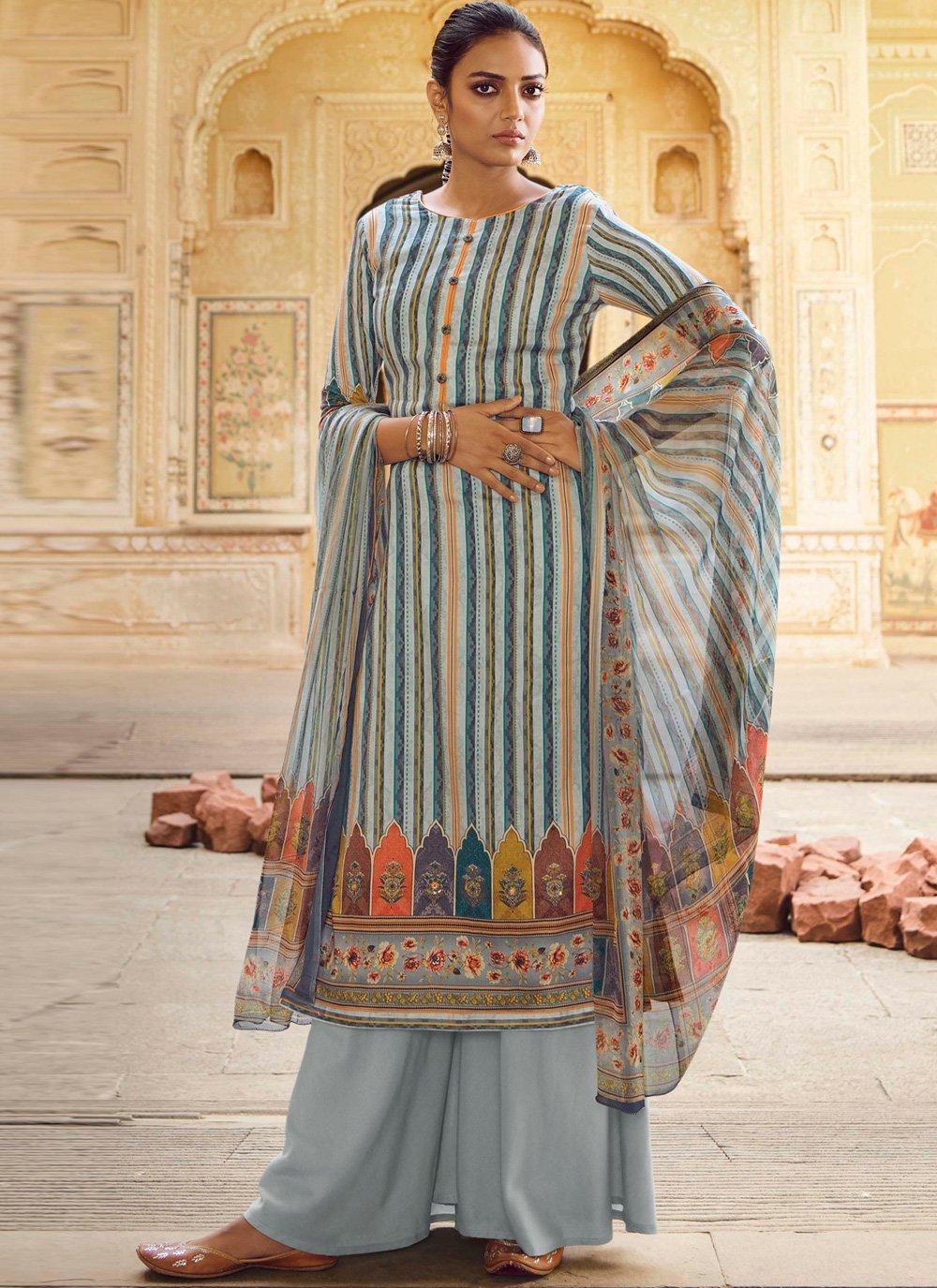 Blue Stripe Print Designer Salwar Kameez