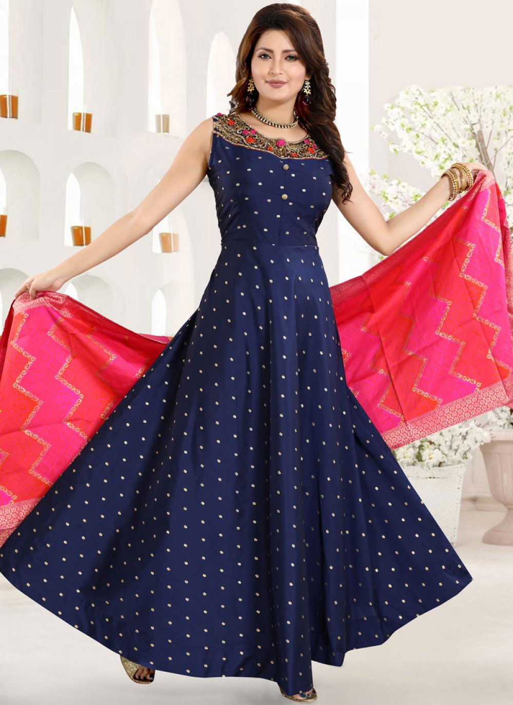 Blue Tafeta Silk Reception Anarkali Salwar Suit