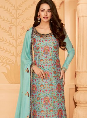 Blue Tussar Silk Designer Salwar Kameez