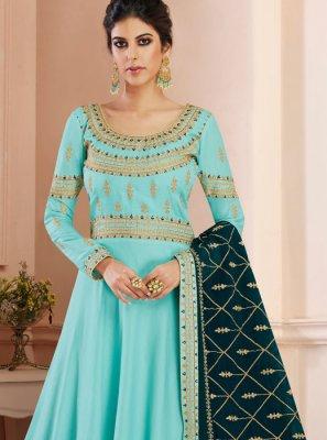 Blue Tussar Silk Wedding Floor Length Anarkali Suit