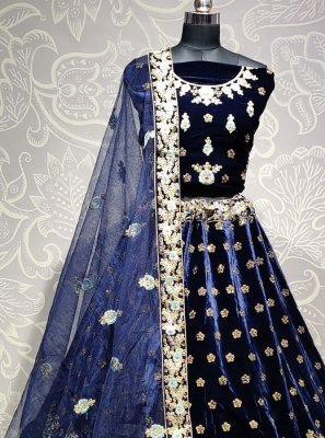 Blue Velvet Embroidered A Line Lehenga Choli