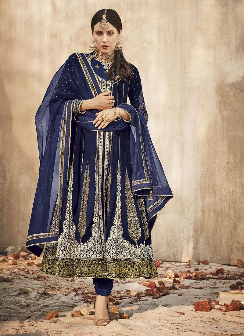 Blue Velvet Party Anarkali Salwar Suit