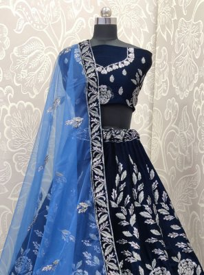 Blue Velvet Reception Lehenga Choli