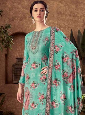 Blue Viscose Palazzo Designer Salwar Suit