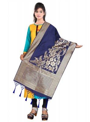 Blue Weaving Art Banarasi Silk Designer Dupatta