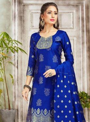 Blue Weaving Art Banarasi Silk Salwar Suit