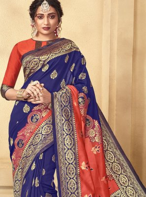 Blue Weaving Art Silk Designer Traditional Saree