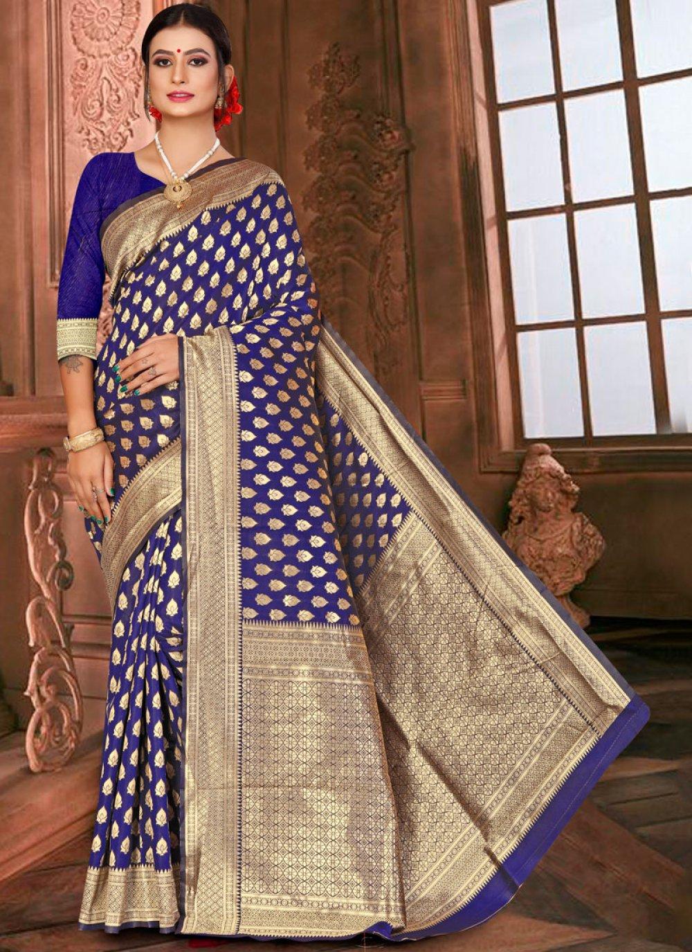 Blue Weaving Art Silk Designer Traditional Saree