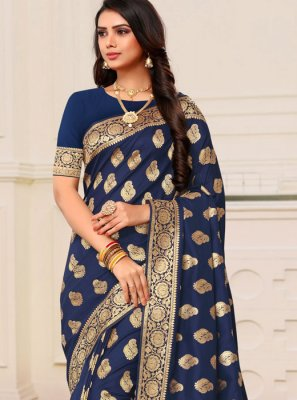 Blue Weaving Banarasi Silk Classic Designer Saree