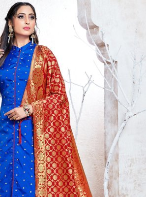Blue Weaving Banarasi Silk Pant Style Suit