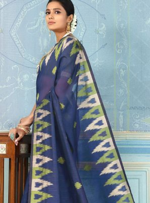 Blue Weaving Bhagalpuri Silk Designer Traditional Saree