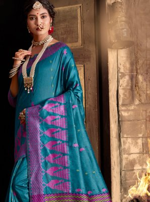 Blue Weaving Ceremonial Classic Designer Saree