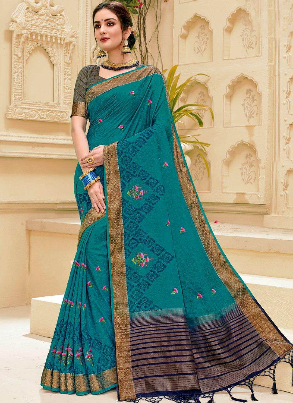 Blue Weaving Classic Designer Saree