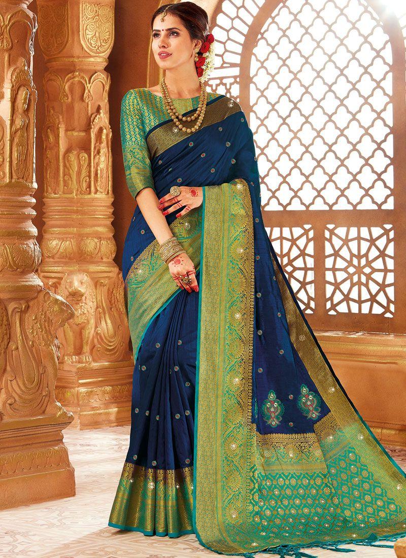 Blue Weaving Designer Traditional Saree