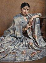 Blue Weaving Jacquard Silk Contemporary Style Saree