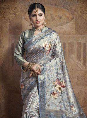 Blue Weaving Jacquard Silk Contemporary Style Saree
