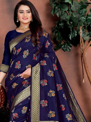 Blue Weaving Party Traditional Saree