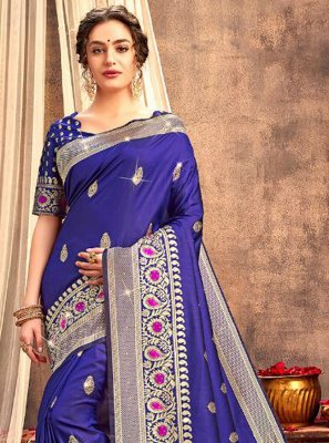 Blue Weaving Silk Classic Saree