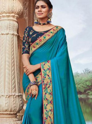 Blue Wedding Faux Georgette Classic Designer Saree