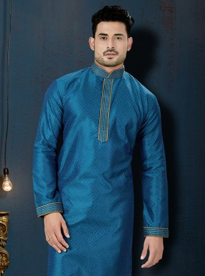 Blue Wedding Jacquard Kurta Pyjama