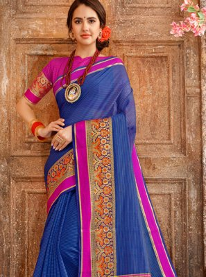 Blue Woven Cotton Casual Saree